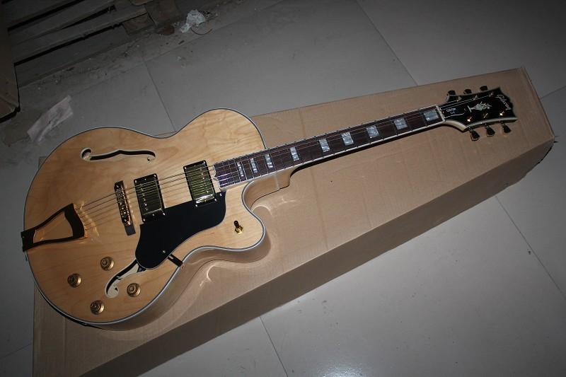 ! G Jazz Electric Guitar, Vibrato Tremolo , Hollow body guitar,Antique Natural Colour - Top reputation guitar store