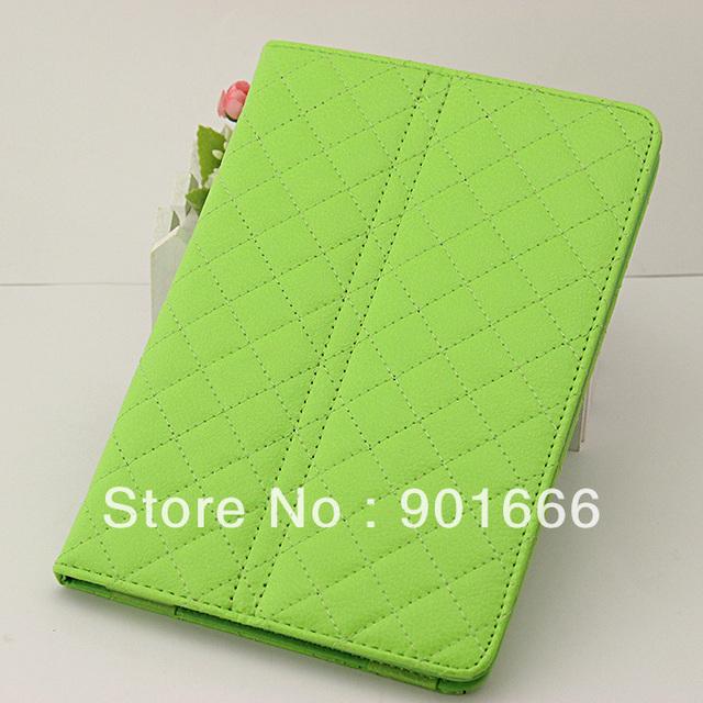 Diamond plaid Fashion style leather case book case Cover for mini ipad free shipping