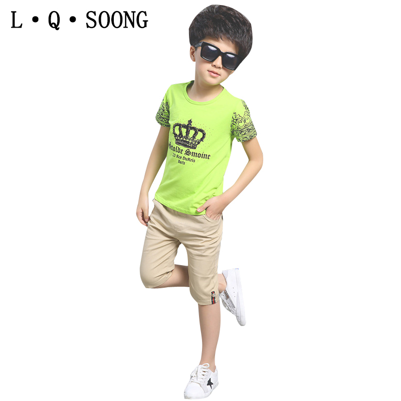 L Q SOONG Brands Pure cotton 2016 fashion crown t-shirt + Five pants vetement enfant Summer Clothes boys sports suit kids sets(China (Mainland))