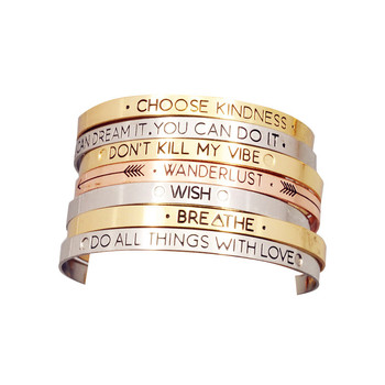 Fashion accessories jewelry Iron letter brave wish mix design cuff bangle lovers' gift B3416