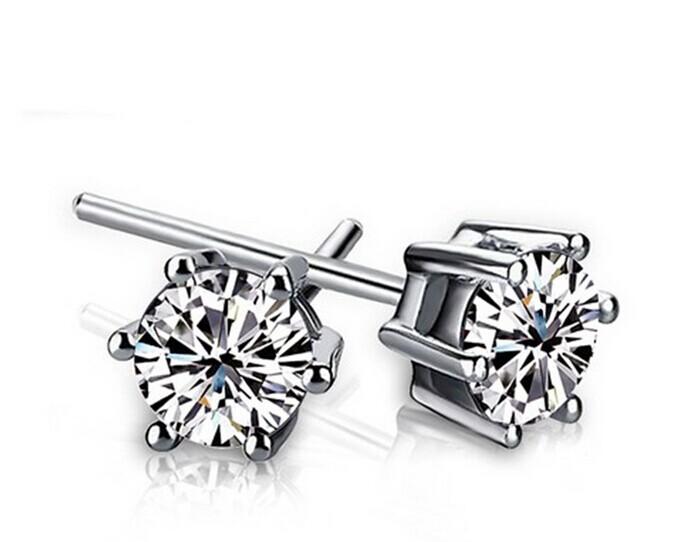 925-E063 & Sterling Silver Six claw Cubic Zirconia Stud Earrings Women Wedding Jewelry - Greatbuy21 (Min order 10USD store)