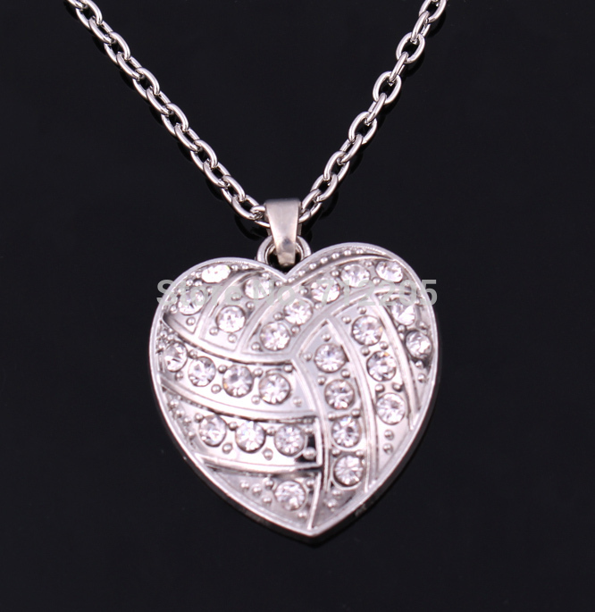 New product 10pcs fashion rhodium big hearts volleyball with clear crystals sports chain necklaces(China (Mainland))
