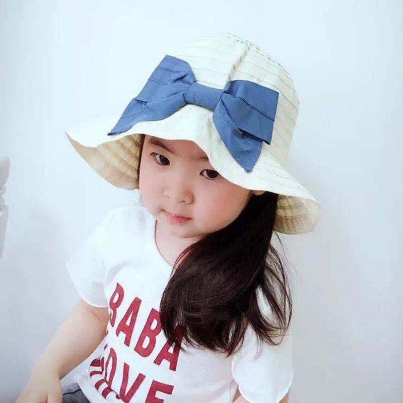 Summer Casual Baby Girl Kid Hat Beach Double Bow Cotton Sun Visor Caps Hats 2-6T(China (Mainland))