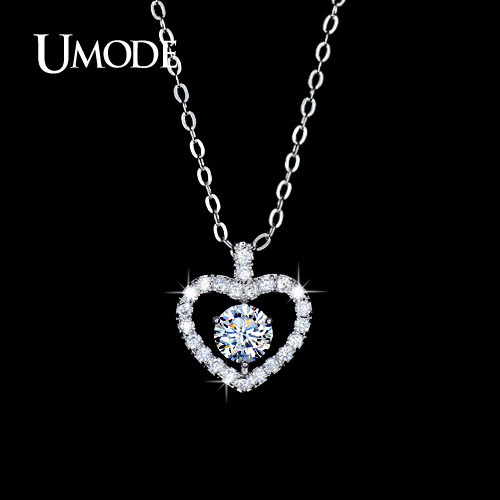 UMODE White Gold Plated AAA CZ Diamond Heart Shaped Pendant Necklaces For Women 2016 Valentine's Day Jewelry Gifts AUN0046(China (Mainland))