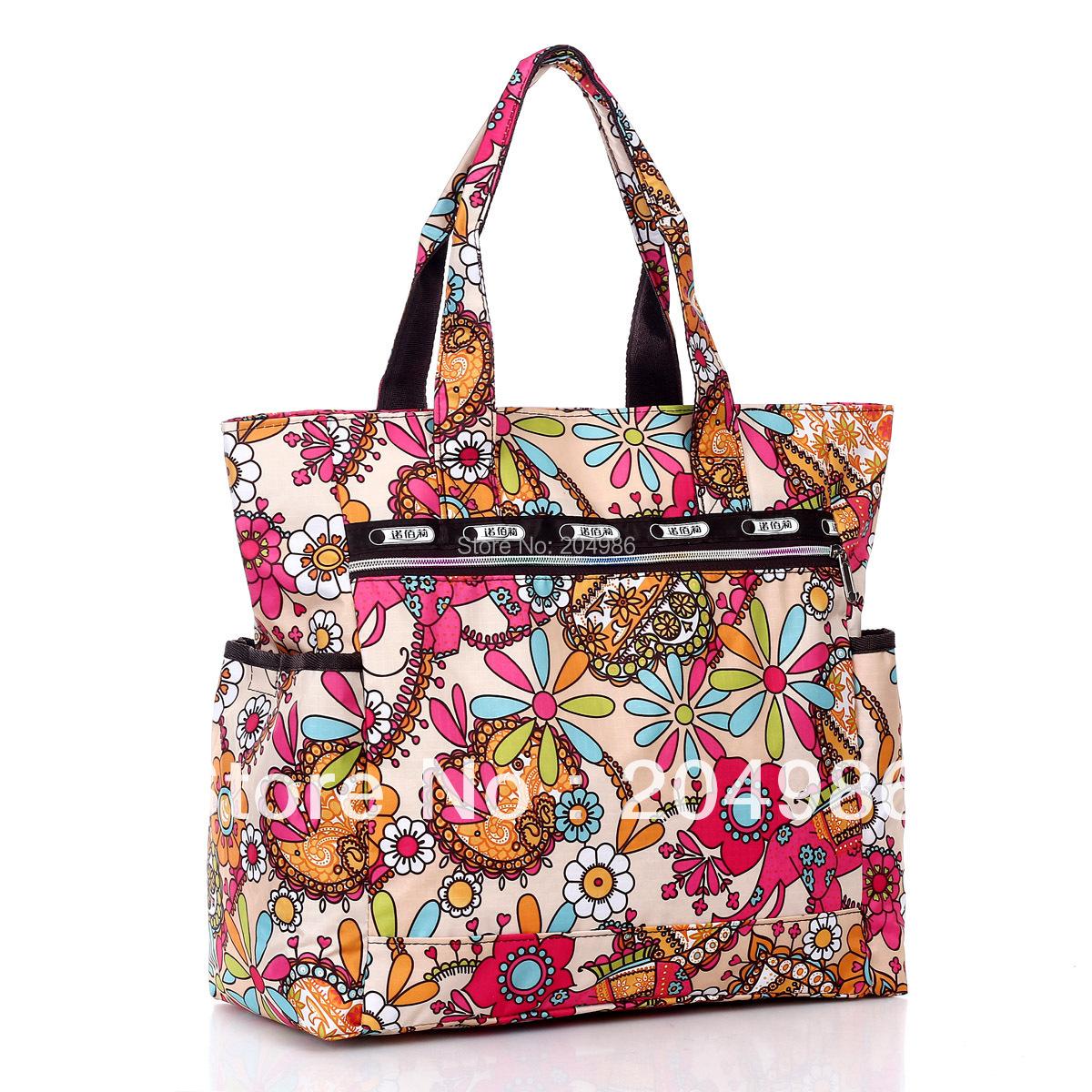 Flower Waterproof Nylon Plus Size Handbag Shoulder Bags Beach Bag Nappy Women Handbag New Arrival 2013 Free Shipping SM030(China (Mainland))