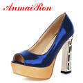 ANMAIRON new 2014 High Heels Shoes 13 5cm women pumps 2014 Fashion Platform Pumps wedding Open