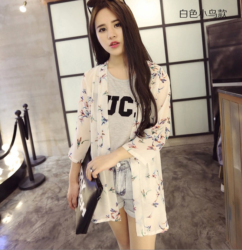 Plus Size Summer Style Chiffon Cardigan Women Short Sleeve Birds Print Trench Coat Loose Sun Protection Clothing Thin SP240 - Zhonghuan No.5 Store store