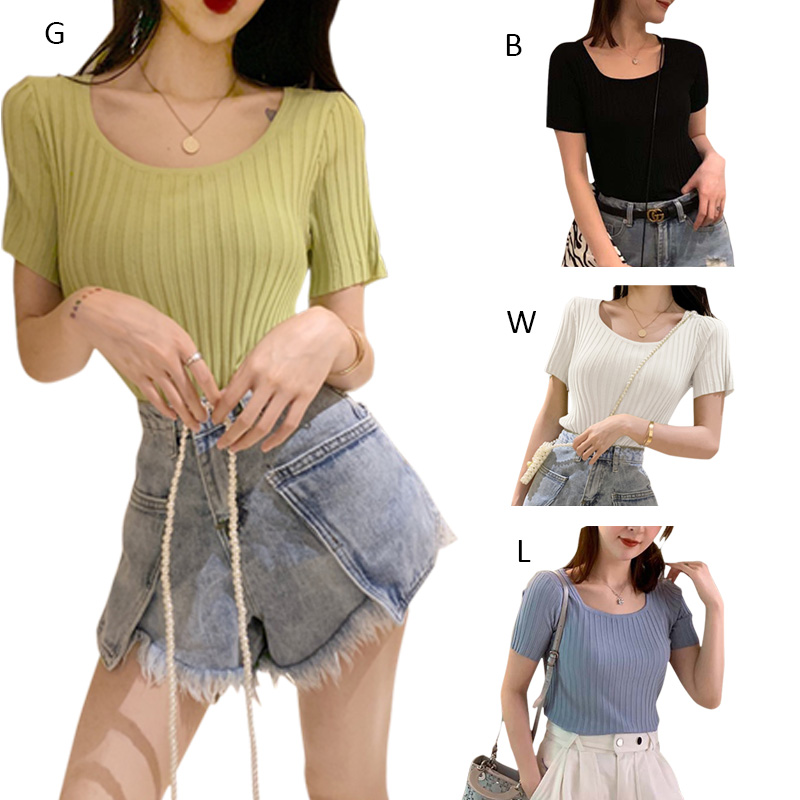Women T-shirts Short Sleeve Round Neck Letter Print Pullover Slim Fit Tops DD