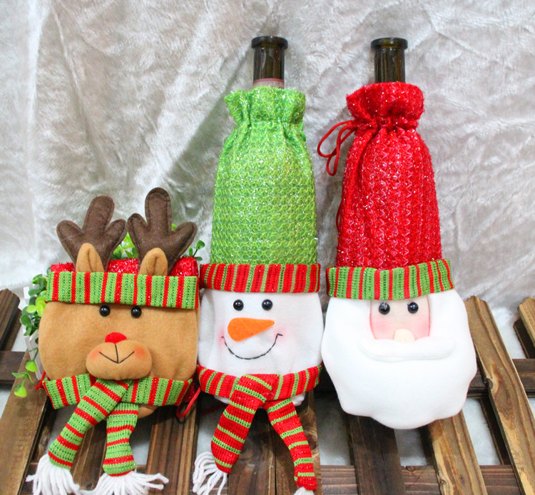 Santa Claus Clothing Hat Red Wine Soft Christmas Bottle Cover Home Decoration Sets - M&J Toy Store store