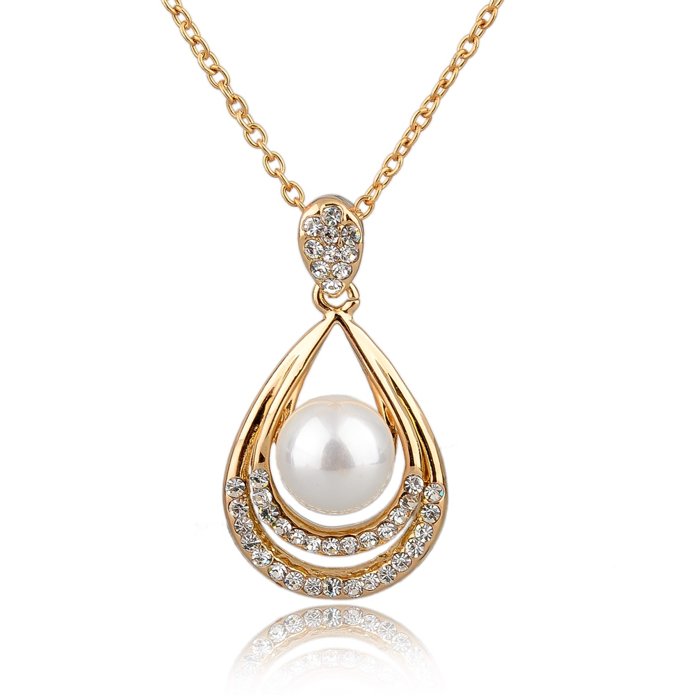 Luxury Elegant Water-drop Pendant Necklace Gold Chain Necklace Austrian Crystal Pearl Necklace For Women SNE140386