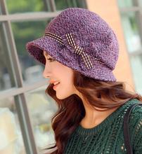 Autumn and winter women s fashion beret lady elegant bow bucket hats painter cap free shipping