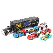 Exclusivo Conjunto de 7 Marvel Toys Justice League Batman Carro Carro Caminhão 1:55 Diecast Metal Modelo de Carro Presentes Meninos Super-heróis brinquedo(China)