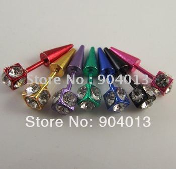 24pcs free shipping wholesale fashion Ear nail colorful Piercing Stainless Steel Body Jewelry piercing
