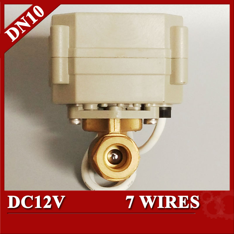 """3/8"""" Electric Actuated ball valve 2 way in brass material, DC12V electric motor control valve DN10 7 wires with signal feedback(China (Mainland))"""