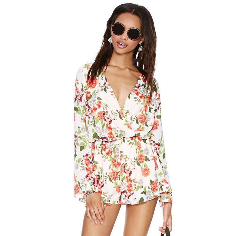 Sale shorts macacao feminino e macaquinhos female Summer rose flower print V-neck high waist long-sleeve chiffon jumpsuit RM033 - 3D Clothing store