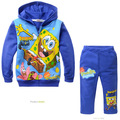 cute baby kids hoodie pants set plus velvet cartoon sponge Bob tops pants set for 2