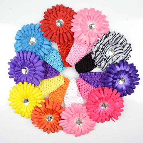 10pcs Colorful Kids Baby Girls Elastic Head Band Hair Clip Daisy Flower Head Wear u1yMX 0ify jush(China (Mainland))
