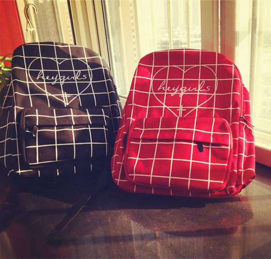 2016 new fashion Harajuku ulzzang diablo series love embroidery heygirl plaid backpack schoolbag men womens travel shoulder bag<br><br>Aliexpress