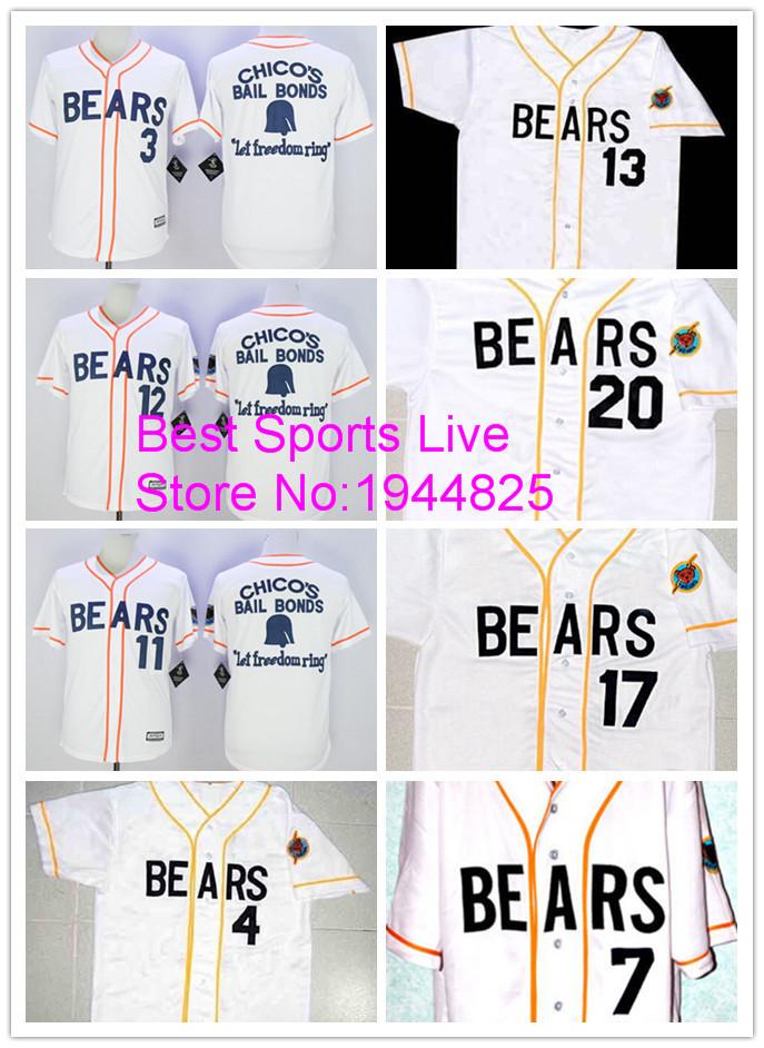Men's Bad News BEARS Movie Jerseys #3 #4 #7 #12 #13 #17 #20 white Cheap Chicos Bail Bonds Retro Baseball Jersey(China (Mainland))