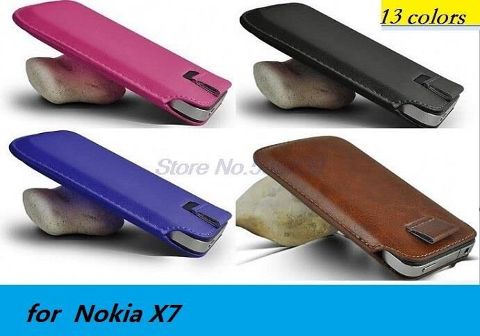 for Nokia X7 Luxury PU Leather Sleeve Bag Pull Tab Pouch Case Cover Cell Phone Accessories case(China (Mainland))