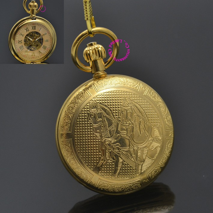man mechanical pocket watch roman classic fob watches horse retro vintage gold ipg plating copper brass case Knight hour - garden store