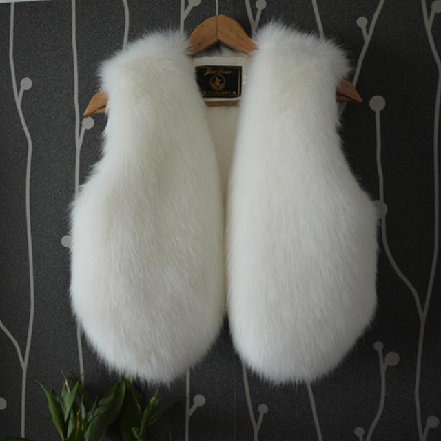 Искусственного меха лисы жилет 2015 мода пушистый жилет розовый белый цвет 9 жиле ...