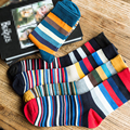 1Pair Men Funny 3D Socks Calcetines Happy Socks For Men Chaussette Homme Colorful Striped Meias Homens