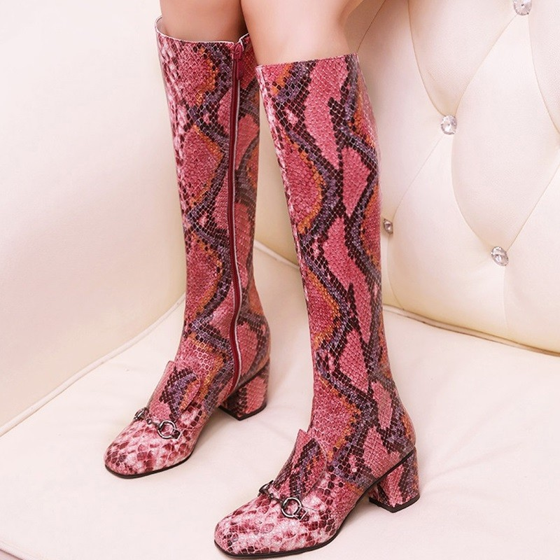 Serpentine Boots White Fashion over the knee boots 2015 Tall side zipper lace up thigh high boots Comfortable sexy square head