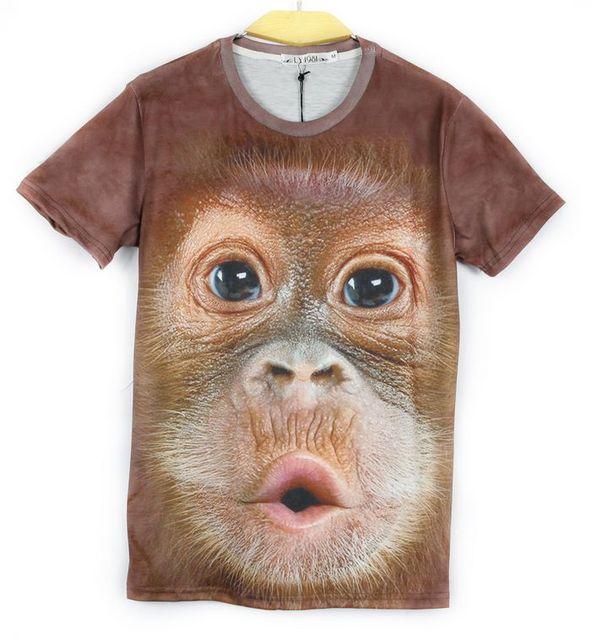 Мужчины / женщины Harajuku 3d футболки с днем обезьяна принт короткий рукав Tshirt лето стили животное свободного покроя t рубашка хип-хоп уличная одежда