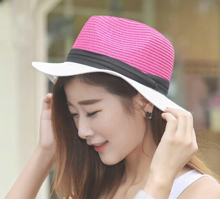 Wholesale 6pcs/Lot Nice Ladies Straw Fedora Hats 2016 Women Summer Color Block Paper Straw Fedoras Hat New Womens Sun Beach Cap(China (Mainland))