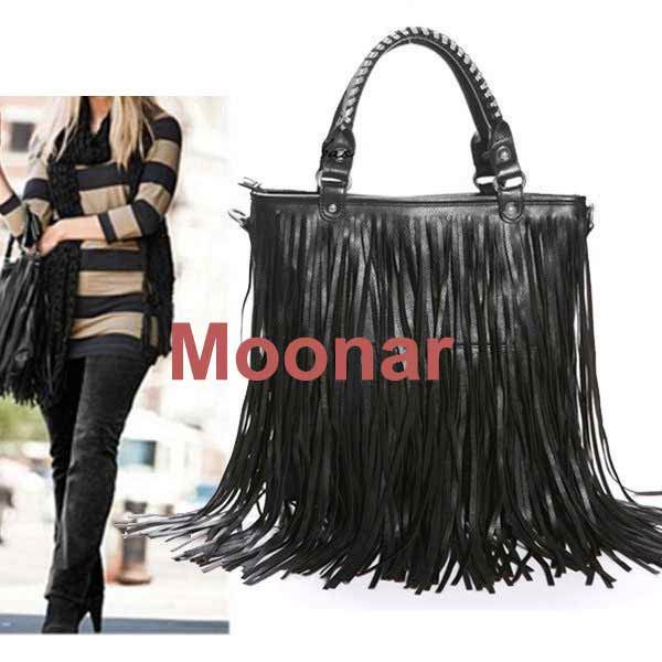 Brand new European&American Style Tassels bags PU Leather Women Handbag Shoulder Bags carteras mujer free shipping zx*B054#c3(China (Mainland))