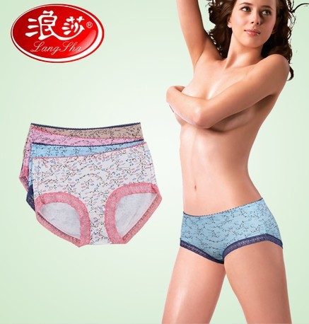 Free shipping langsha Grade cotton bamboo fiber underwear sexy Lace cotton shorts women's panties Healthy cotton Relax