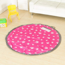 150cm Round Kids Toy Storage Bag Portable Play Mat Lego Storage Blanket For Toy Baby Playing Floor Blanket Mat Travel Picnic Mat(China)