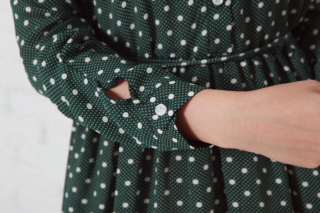 российских сельских районов страны Мори девочек осенний урожай повернуть вниз воротник длинный рукав горошек платье макси случайные Бохо длинный халат платье