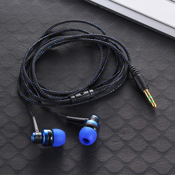 MP3 MP4 Wiring Subwoofer Headset Ear Braided Rope Wire Cloth Rope Earplug Noise Isolating Earphone Built-in Mic Handfree