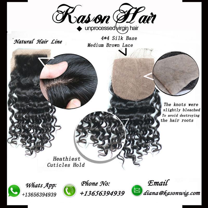 Kason Hair 7A 4 * 4 , /2/3 Knots brazilian silk base closure 7a malaysian loose wave silk base closure bleached knots virgin malaysian free part silk base closure no tangle