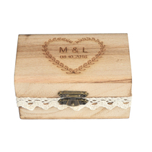Buy Personalized Engraved Gift Rustic Wedding Ring Bearer Ring Box Wooden Custom Names Date for $8.99 in AliExpress store