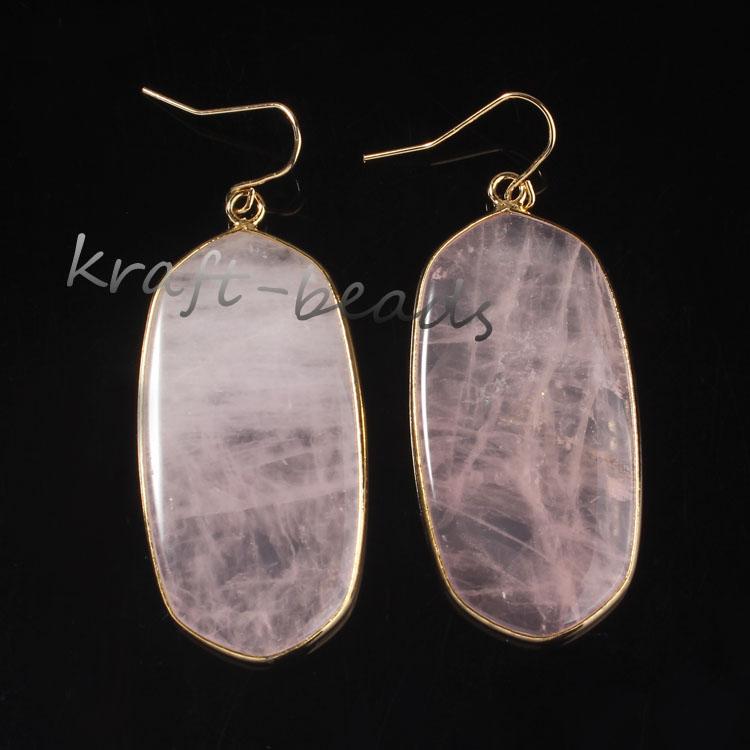 Wholesale 10 Pair Gold plating Rose Quartz oval earrings elegant womens earring<br><br>Aliexpress