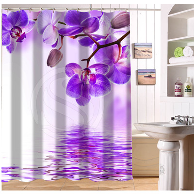 U419-79 Custom <font><b>Home</b></font> <font><b>Decor</b></font> <font><b>Elegant</b></font> Colour Orchid Flower Fabric Modern Shower Curtain European Style bathroom Waterproof WJY9