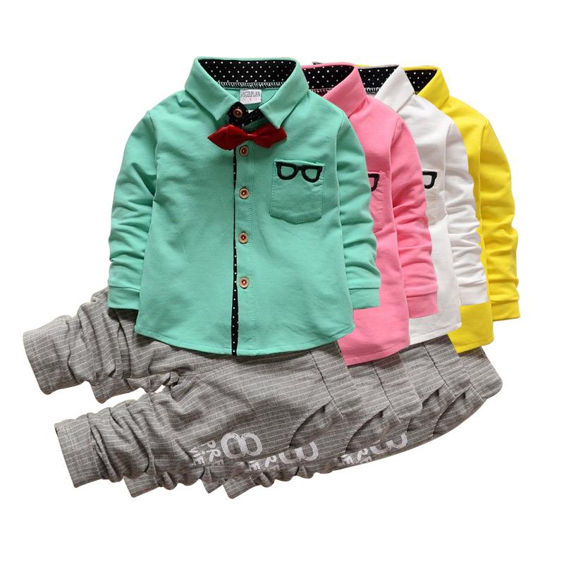 джентльмен Детская одежда набор очки галстук с длинным рукавом футболки + полосой брюки детей моды костюм 2 кусок костюм детей набор