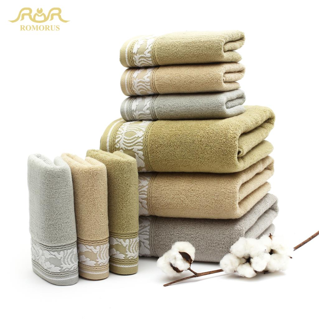 ROMORUS 100% Cotton Luxuriously Soft Face Towel Brands Set Solid Towel Big Size Beatch/Travel/Sports Towel RMR(China (Mainland))