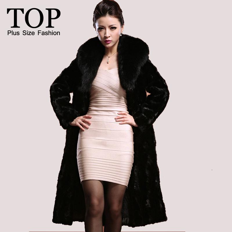 6XL 5XL Winter Warm Fake Fur Coats Lady 2015 Fashion Plus Size Women Clothing Thick Long Faux Mink Coat Collar - FashionTOP Mall store