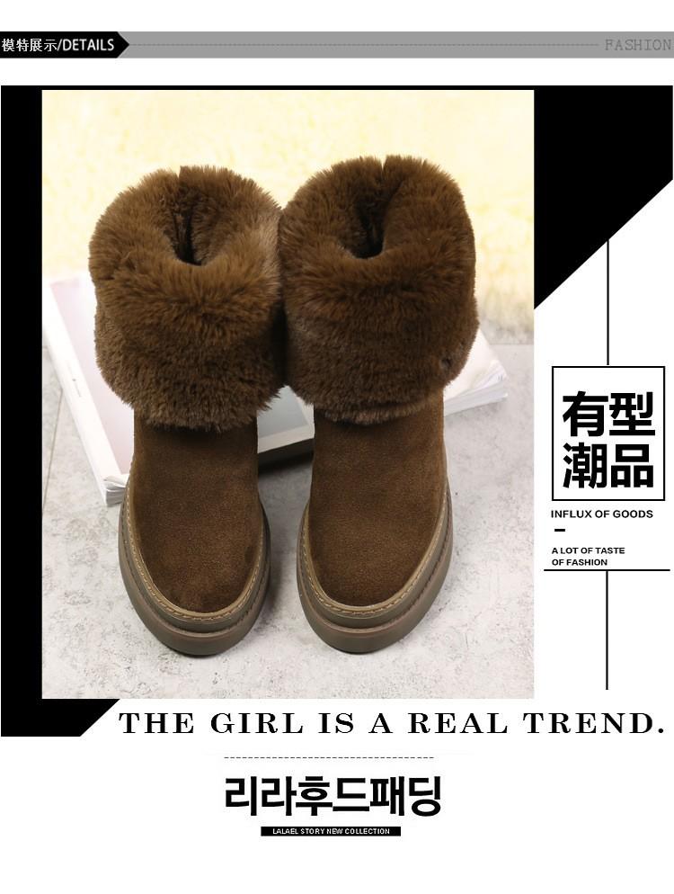 ซื้อ ที่มีคุณภาพสูงหนังแท้ผู้หญิงฤดูหนาวที่อบอุ่นบูตหิมะให้สูงแพลตฟอร์มรองเท้าตุ๊กตา