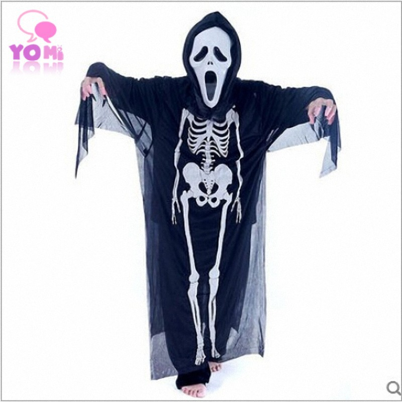 Halloween Costume Masquerade Children Cosplay Clothes Screaming ghost mask + clothes + ghost gloves 3pcs W029(China (Mainland))