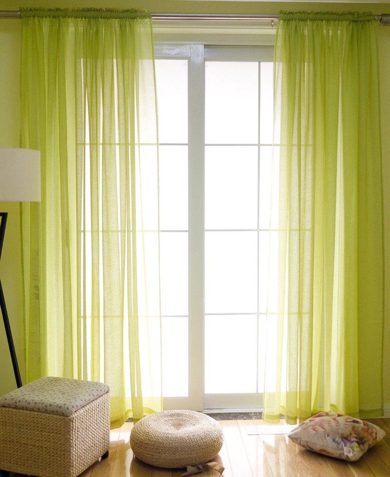 American Style Linen Gauze Curtains Solid Color Pinch Pleated Sheer Curtain Rod Pocket Window