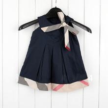 Wholesale  kids plaid summer dress baby grils dress sleeveless  princess dress Brand New 2013 fashion baby dresses #628(China (Mainland))