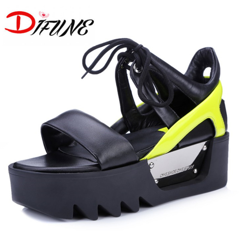 Free shipping 2016 summer genuine leather sandals for ladies wedges women shoes ankle warp mixed-colors brand top quality shoes<br><br>Aliexpress