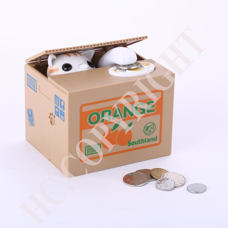 Chilren's Gift White Cat Animal Smart Stealing Coin Bank Itazura Save Box Money Automated Saving Box Pot Case Bank(China (Mainland))