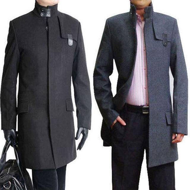 Sale 2015 New Winter coats men's Wool dust coat Turtleneck Long Windbreaker man outercoat Male outerwear Plus Size S-4XL MTS127