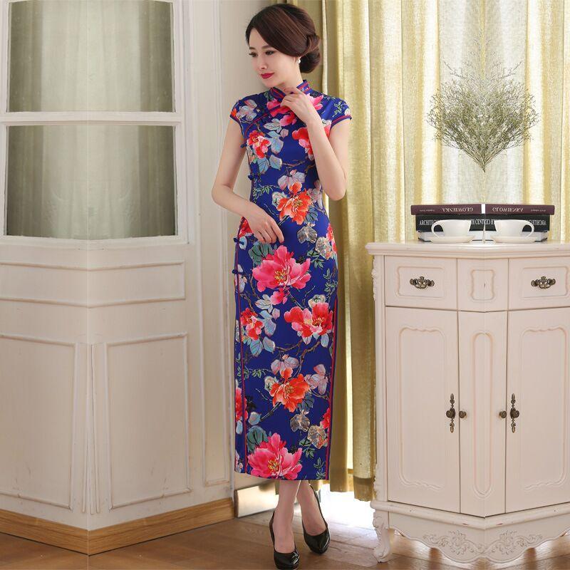 Azul Elegante de la Venta Caliente Cheongsam Tradicional Chino Para Mujer de Satén Largo Vestido Qipao Vestido Tamaño de la Ropa Sml XL XXL C27476(China (Mainland))